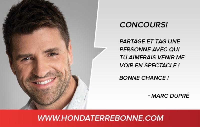 Partage et gagne une paire de billets pour aller voir Marc Dupré en spectacle au Centre Bell.